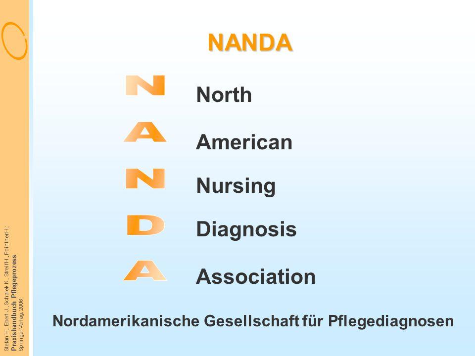 Stefan H., Eberl J., Schalek K., Streif H., Pointner H.: Praxishandbuch Pflegeprozess Springer Verlag, 2006 NANDA Nordamerikanische Gesellschaft für P