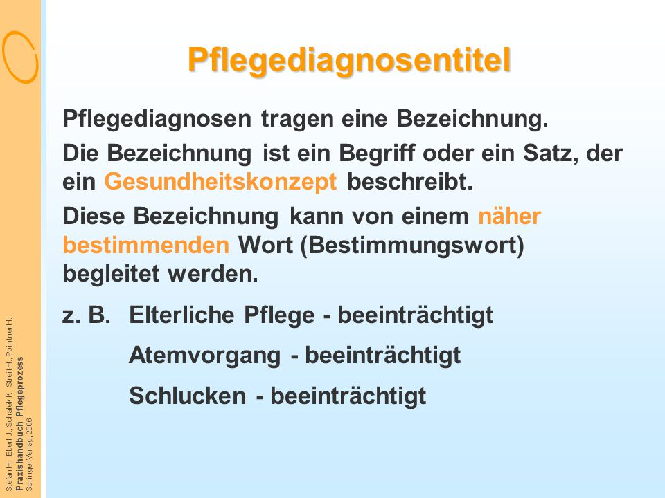 Stefan H., Eberl J., Schalek K., Streif H., Pointner H.: Praxishandbuch Pflegeprozess Springer Verlag, 2006 Pflegediagnosentitel Pflegediagnosen trage