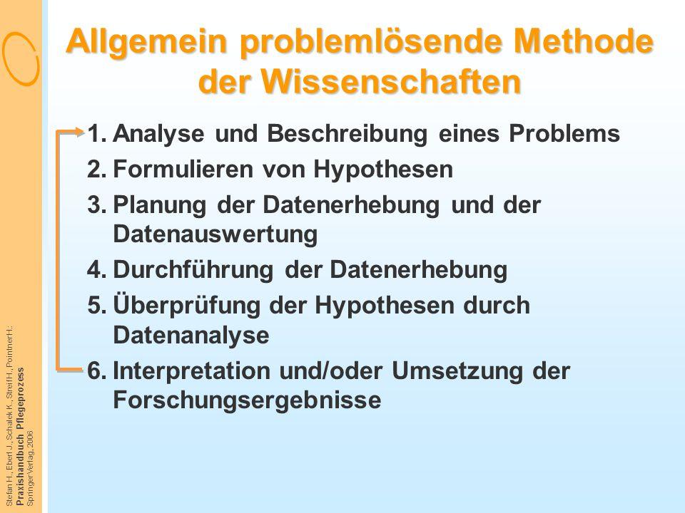 Stefan H., Eberl J., Schalek K., Streif H., Pointner H.: Praxishandbuch Pflegeprozess Springer Verlag, 2006 Allgemein problemlösende Methode der Wisse