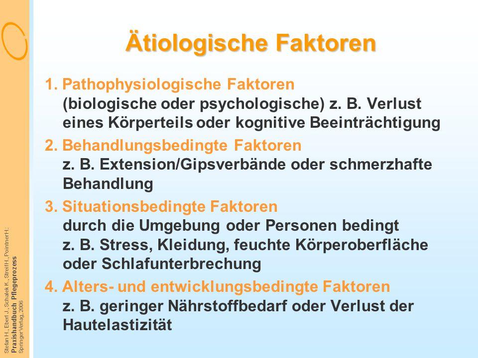 Stefan H., Eberl J., Schalek K., Streif H., Pointner H.: Praxishandbuch Pflegeprozess Springer Verlag, 2006 Ätiologische Faktoren 1. Pathophysiologisc