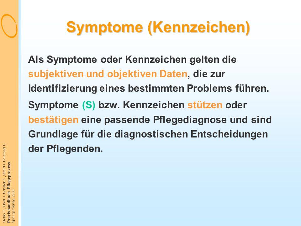 Stefan H., Eberl J., Schalek K., Streif H., Pointner H.: Praxishandbuch Pflegeprozess Springer Verlag, 2006 Symptome (Kennzeichen) Als Symptome oder K