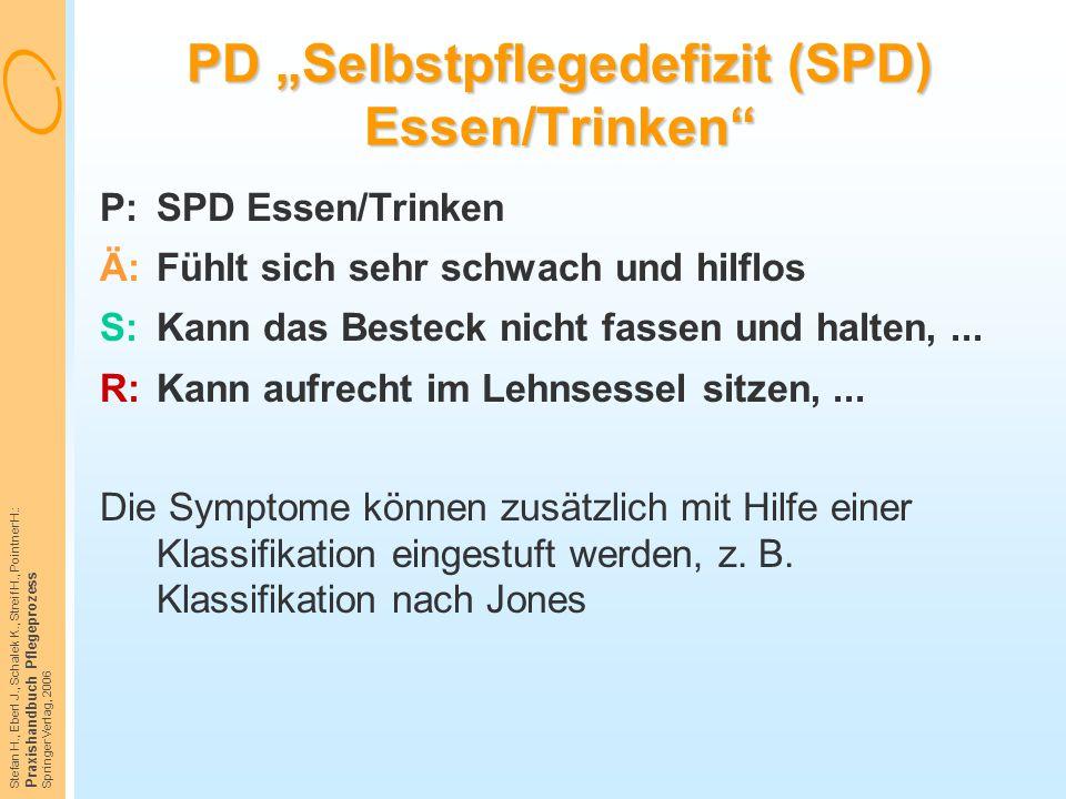 """Stefan H., Eberl J., Schalek K., Streif H., Pointner H.: Praxishandbuch Pflegeprozess Springer Verlag, 2006 PD """"Selbstpflegedefizit (SPD) Essen/Trinke"""