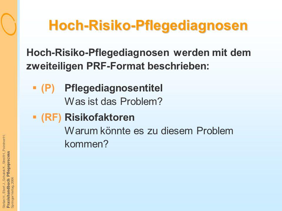 Stefan H., Eberl J., Schalek K., Streif H., Pointner H.: Praxishandbuch Pflegeprozess Springer Verlag, 2006 Hoch-Risiko-Pflegediagnosen Hoch-Risiko-Pf