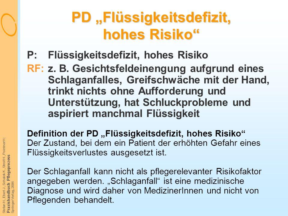 """Stefan H., Eberl J., Schalek K., Streif H., Pointner H.: Praxishandbuch Pflegeprozess Springer Verlag, 2006 PD """"Flüssigkeitsdefizit, hohes Risiko"""" P:F"""