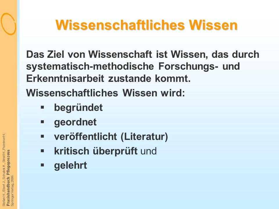 Stefan H., Eberl J., Schalek K., Streif H., Pointner H.: Praxishandbuch Pflegeprozess Springer Verlag, 2006 Wissenschaftliches Wissen Das Ziel von Wis