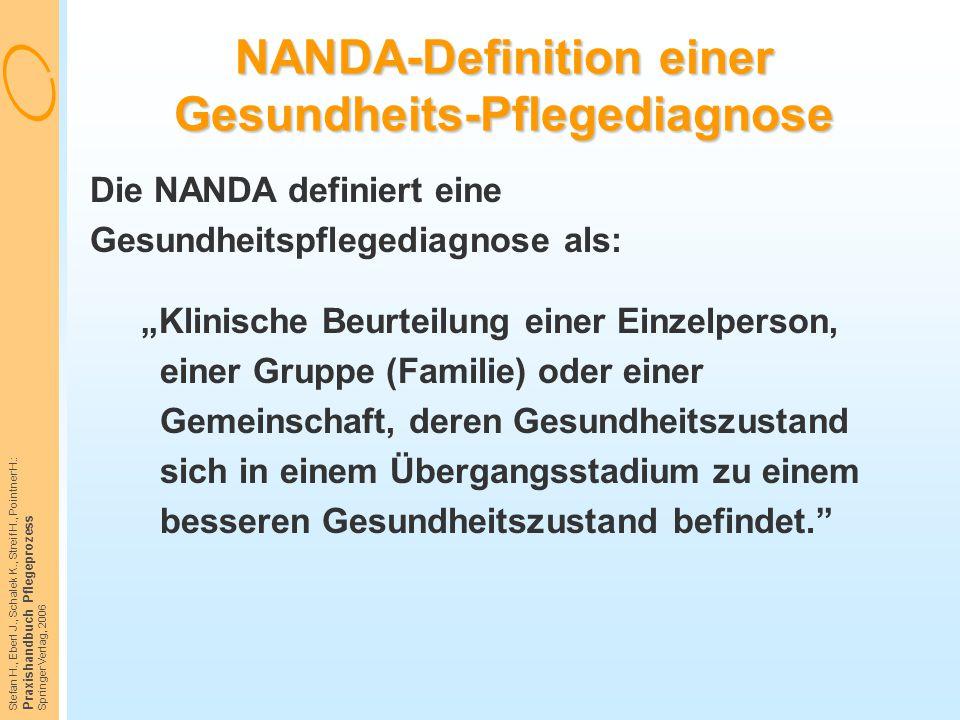 Stefan H., Eberl J., Schalek K., Streif H., Pointner H.: Praxishandbuch Pflegeprozess Springer Verlag, 2006 NANDA-Definition einer Gesundheits-Pfleged