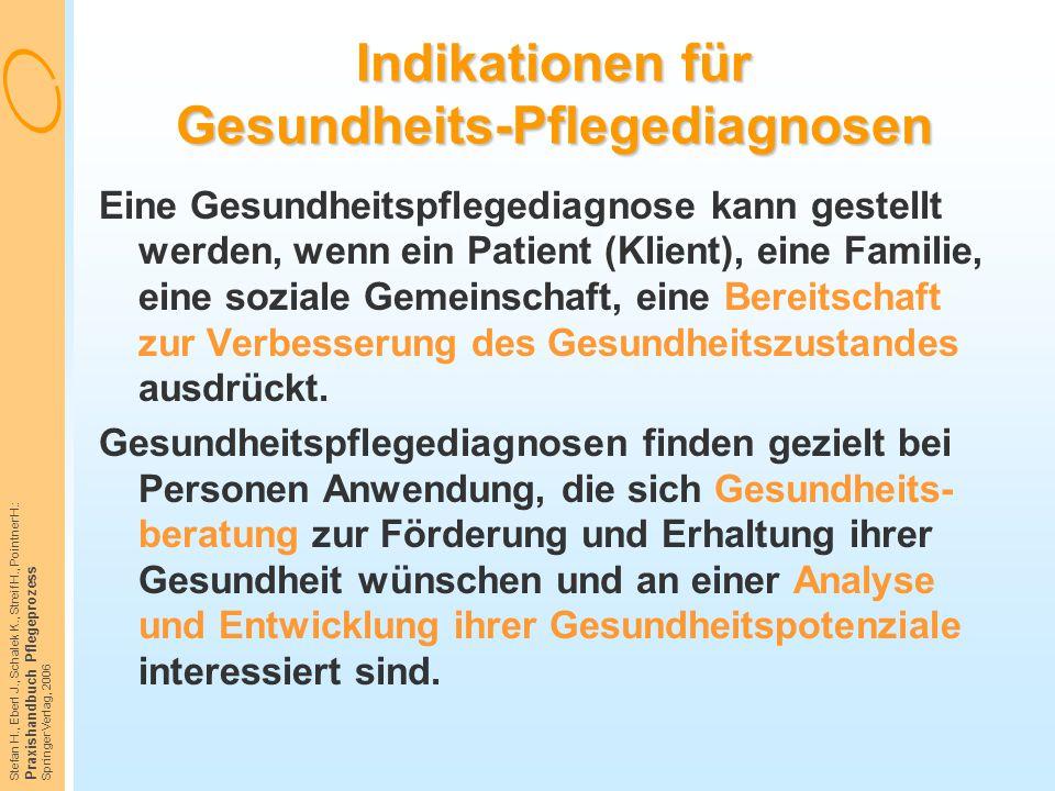 Stefan H., Eberl J., Schalek K., Streif H., Pointner H.: Praxishandbuch Pflegeprozess Springer Verlag, 2006 Indikationen für Gesundheits-Pflegediagnos