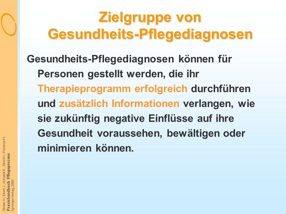 Stefan H., Eberl J., Schalek K., Streif H., Pointner H.: Praxishandbuch Pflegeprozess Springer Verlag, 2006 Zielgruppe von Gesundheits-Pflegediagnosen