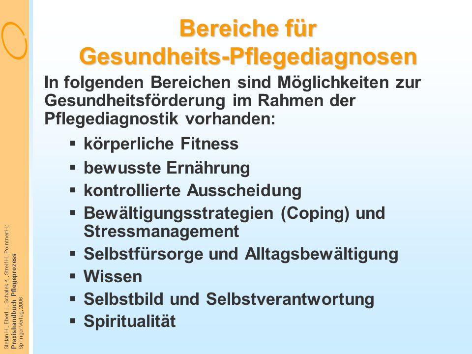 Stefan H., Eberl J., Schalek K., Streif H., Pointner H.: Praxishandbuch Pflegeprozess Springer Verlag, 2006 Bereiche für Gesundheits-Pflegediagnosen I