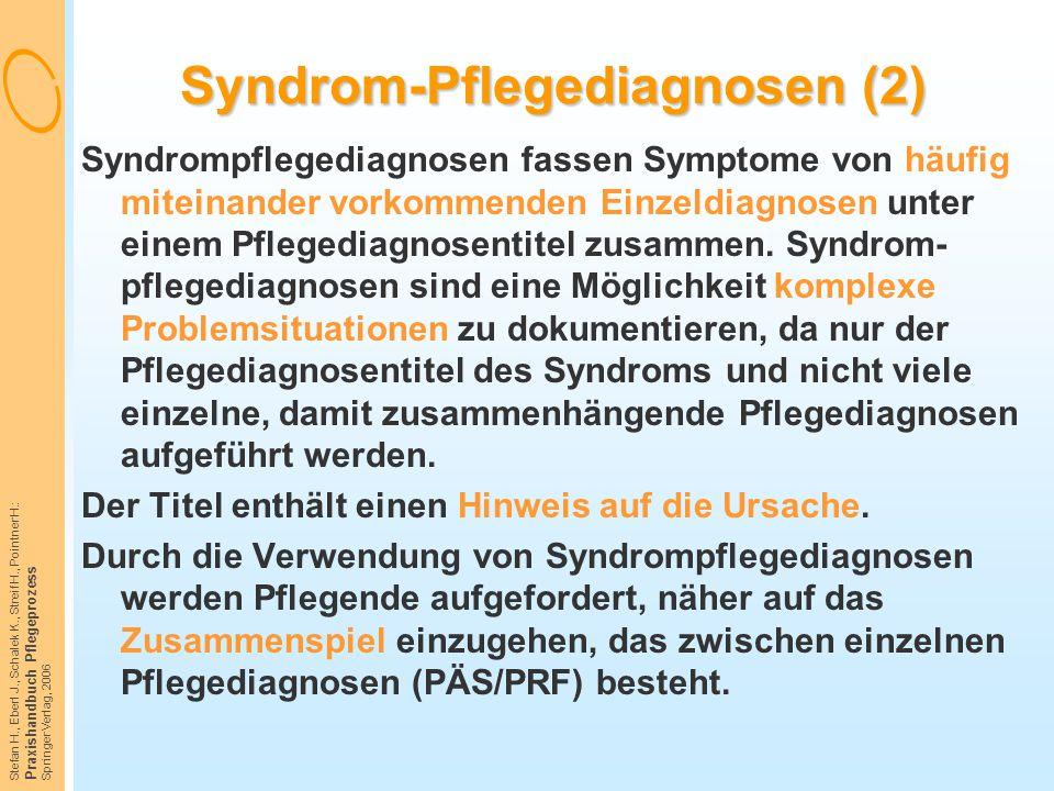 Stefan H., Eberl J., Schalek K., Streif H., Pointner H.: Praxishandbuch Pflegeprozess Springer Verlag, 2006 Syndrom-Pflegediagnosen (2) Syndrompfleged