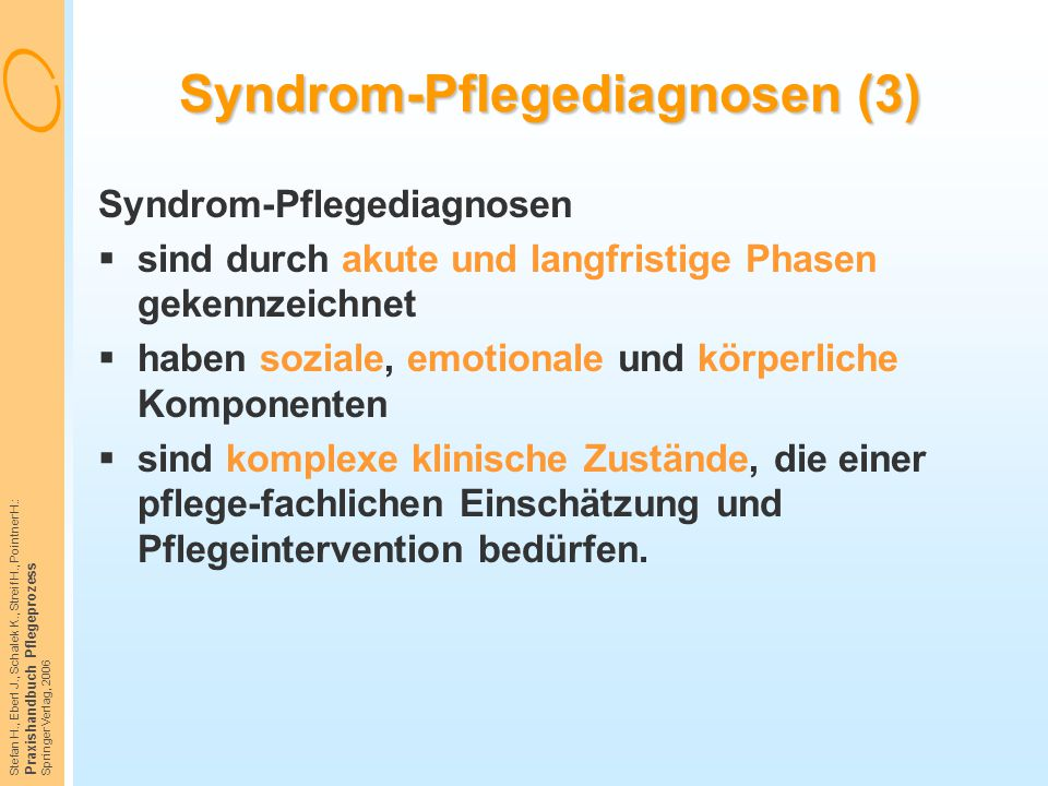 Stefan H., Eberl J., Schalek K., Streif H., Pointner H.: Praxishandbuch Pflegeprozess Springer Verlag, 2006 Syndrom-Pflegediagnosen (3) Syndrom-Pflege