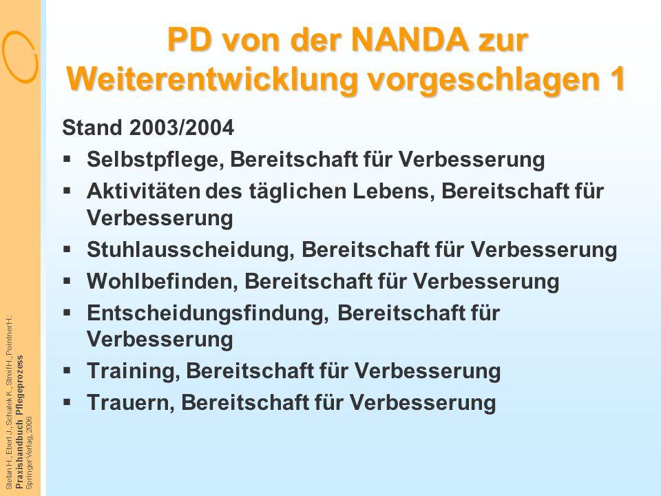 Stefan H., Eberl J., Schalek K., Streif H., Pointner H.: Praxishandbuch Pflegeprozess Springer Verlag, 2006 PD von der NANDA zur Weiterentwicklung vor