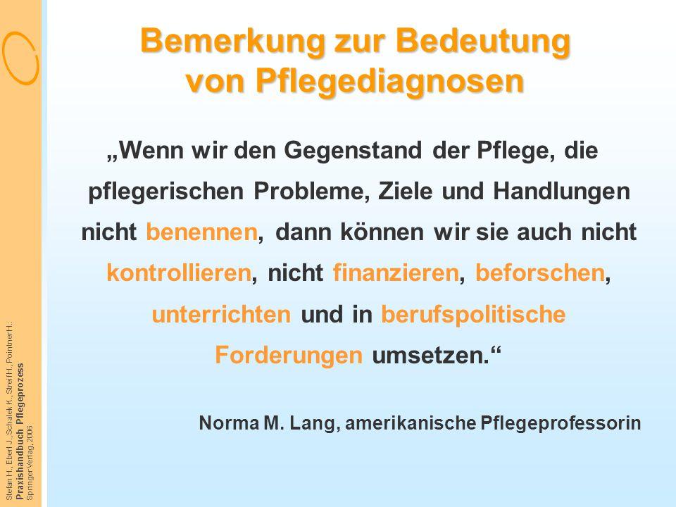 Stefan H., Eberl J., Schalek K., Streif H., Pointner H.: Praxishandbuch Pflegeprozess Springer Verlag, 2006 Bemerkung zur Bedeutung von Pflegediagnose