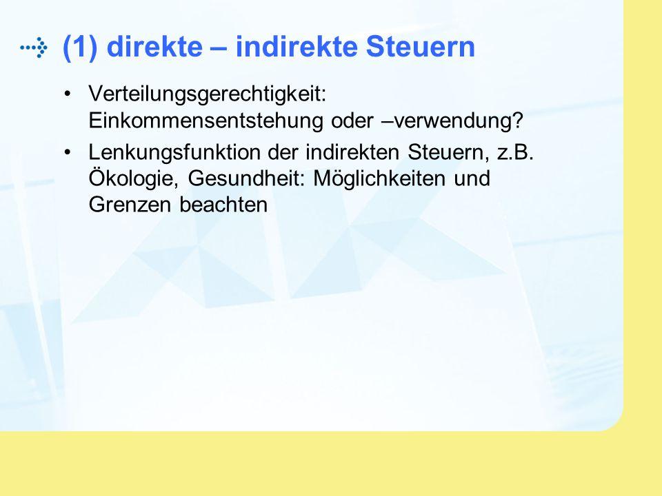 (1) direkte – indirekte Steuern Verteilungsgerechtigkeit: Einkommensentstehung oder –verwendung? Lenkungsfunktion der indirekten Steuern, z.B. Ökologi