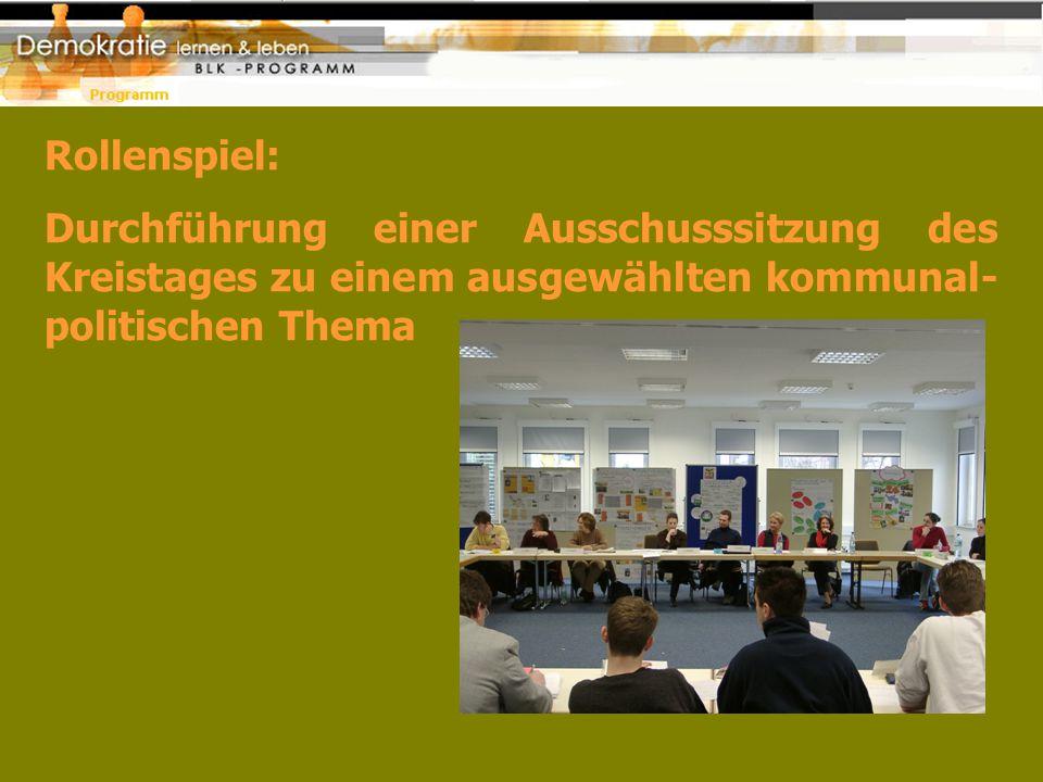 Rollenspiel: Durchführung einer Ausschusssitzung des Kreistages zu einem ausgewählten kommunal- politischen Thema