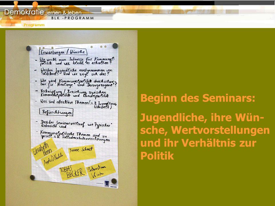 Beginn des Seminars: Jugendliche, ihre Wün- sche, Wertvorstellungen und ihr Verhältnis zur Politik