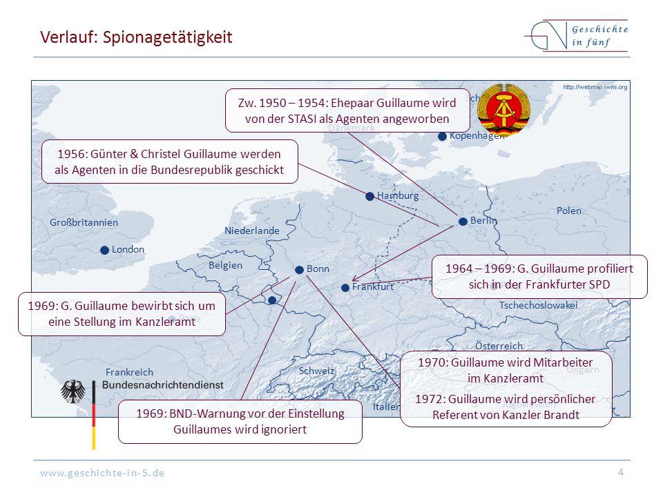 www.geschichte-in-5.de Verlauf: Spionagetätigkeit 4 London Paris Bonn Berlin Kopenhagen Prag Niederlande Belgien Frankreich Großbritannien Dänemark Po