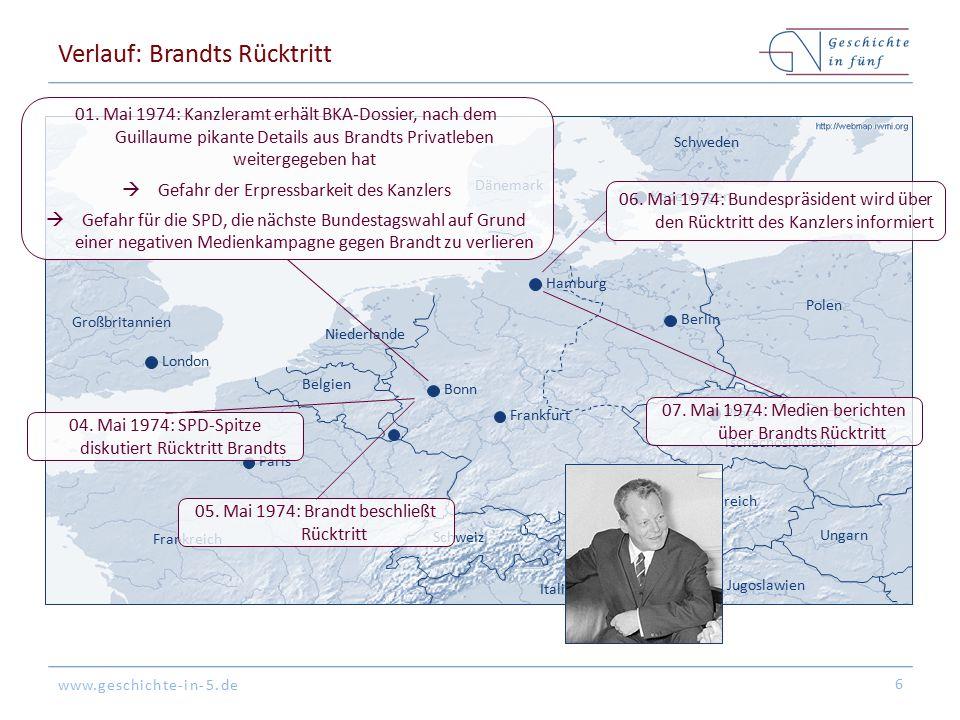 www.geschichte-in-5.de Folgen Guillaume-Affaire ist der Anlass von Brandts Rücktritt, gemeinhin werden andere Gründe als ausschlaggebend angesehen (insb.