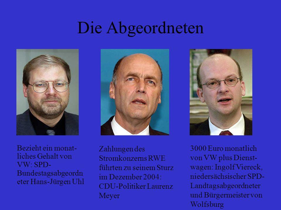 Die Abgeordneten Zahlungen des Stromkonzerns RWE führten zu seinem Sturz im Dezember 2004: CDU-Politiker Laurenz Meyer 3000 Euro monatlich von VW plus Dienst- wagen: Ingolf Viereck, niedersächsischer SPD- Landtagsabgeordneter und Bürgermeister von Wolfsburg Bezieht ein monat- liches Gehalt von VW: SPD- Bundestagsabgeordn eter Hans-Jürgen Uhl