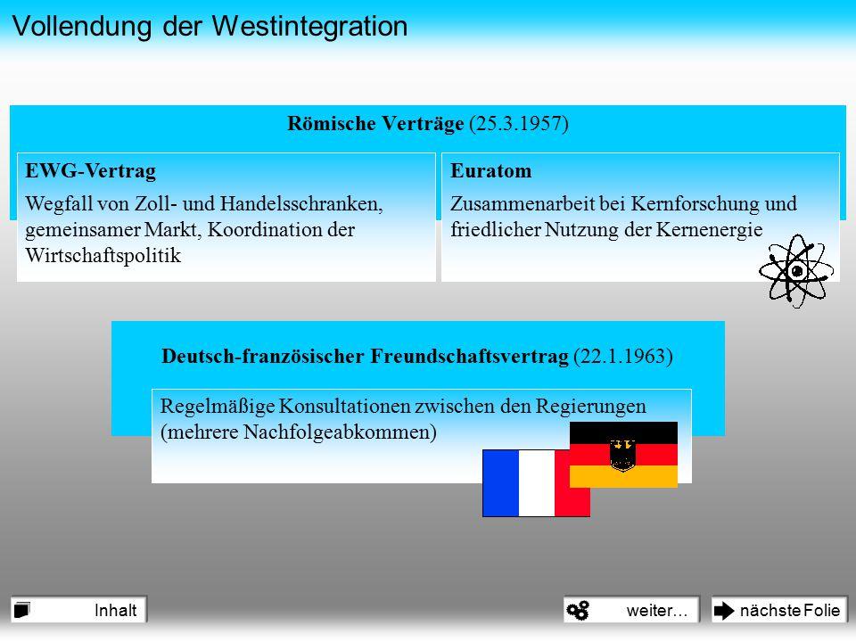 Vollendung der Westintegration Römische Verträge (25.3.1957) EWG-Vertrag Wegfall von Zoll- und Handelsschranken, gemeinsamer Markt, Koordination der W