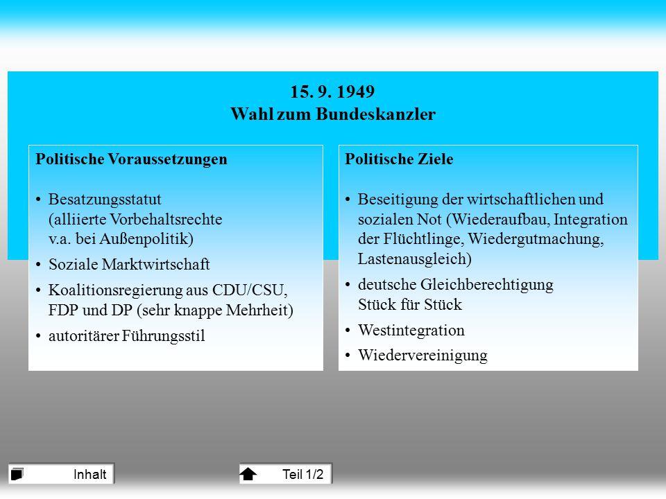 15. 9. 1949 Wahl zum Bundeskanzler Politische Voraussetzungen Besatzungsstatut (alliierte Vorbehaltsrechte v.a. bei Außenpolitik) Soziale Marktwirtsch