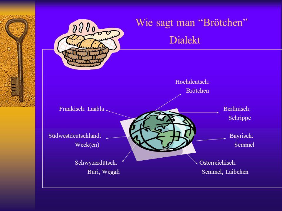 """Wie sagt man """"Brötchen"""" Dialekt Hochdeutsch: Brötchen Frankisch: Laabla Berlinisch: Schrippe Südwestdeutschland: Bayrisch: Weck(en) Semmel Schwyzerdüt"""