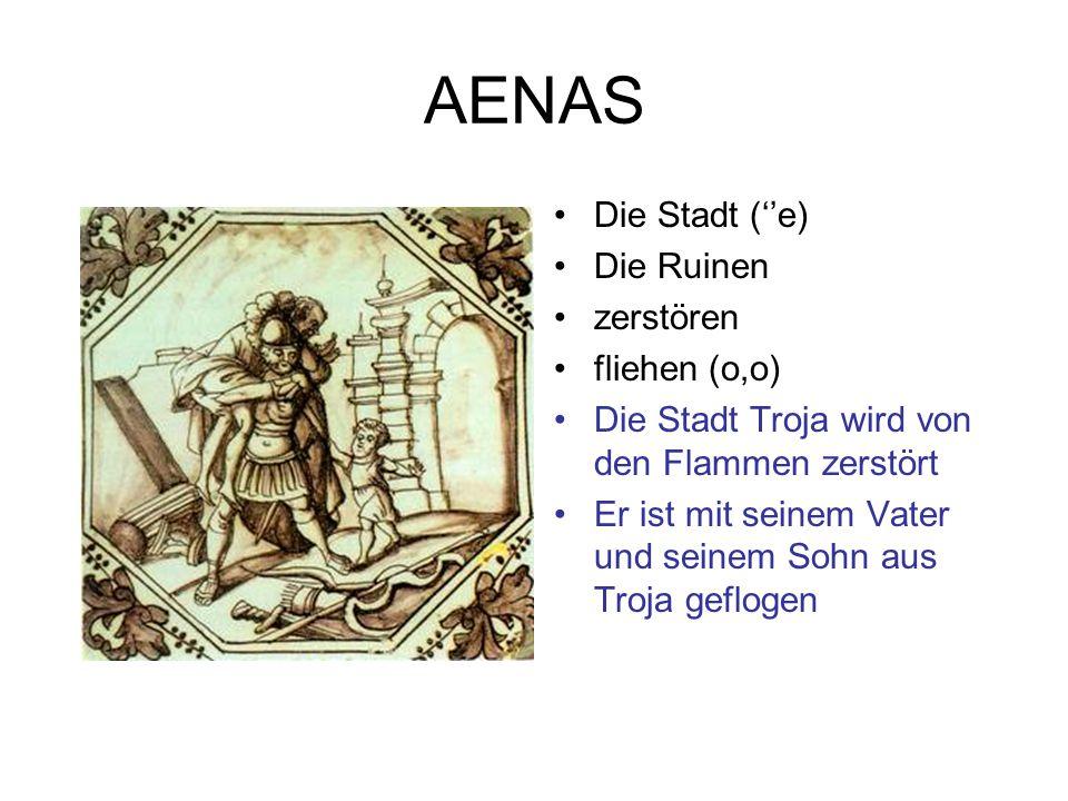 AENAS Die Stadt (''e) Die Ruinen zerstören fliehen (o,o) Die Stadt Troja wird von den Flammen zerstört Er ist mit seinem Vater und seinem Sohn aus Tro