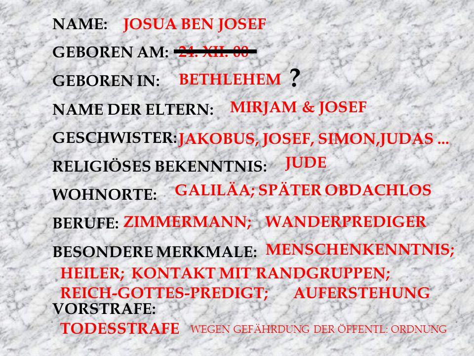 NAME: GEBOREN AM: GEBOREN IN: NAME DER ELTERN: GESCHWISTER: RELIGIÖSES BEKENNTNIS: WOHNORTE: BERUFE: BESONDERE MERKMALE: VORSTRAFE: JOSUA BEN JOSEF 24