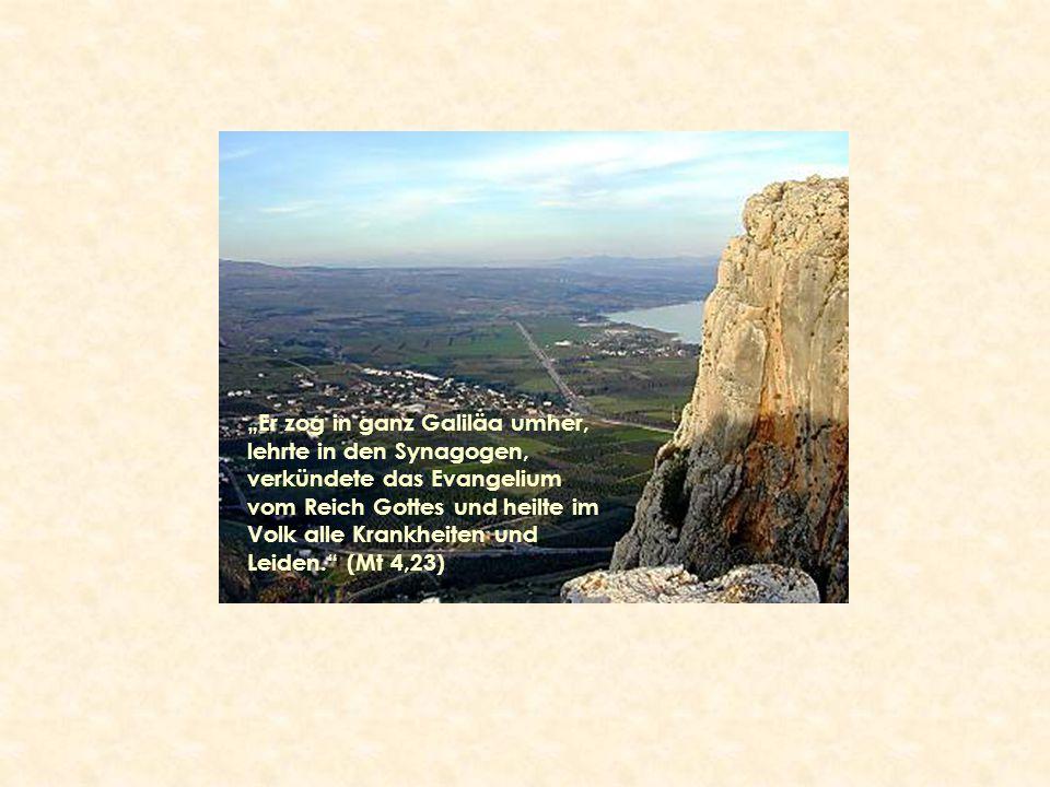"""""""Er zog in ganz Galiläa umher, lehrte in den Synagogen, verkündete das Evangelium vom Reich Gottes und heilte im Volk alle Krankheiten und Leiden."""" (M"""