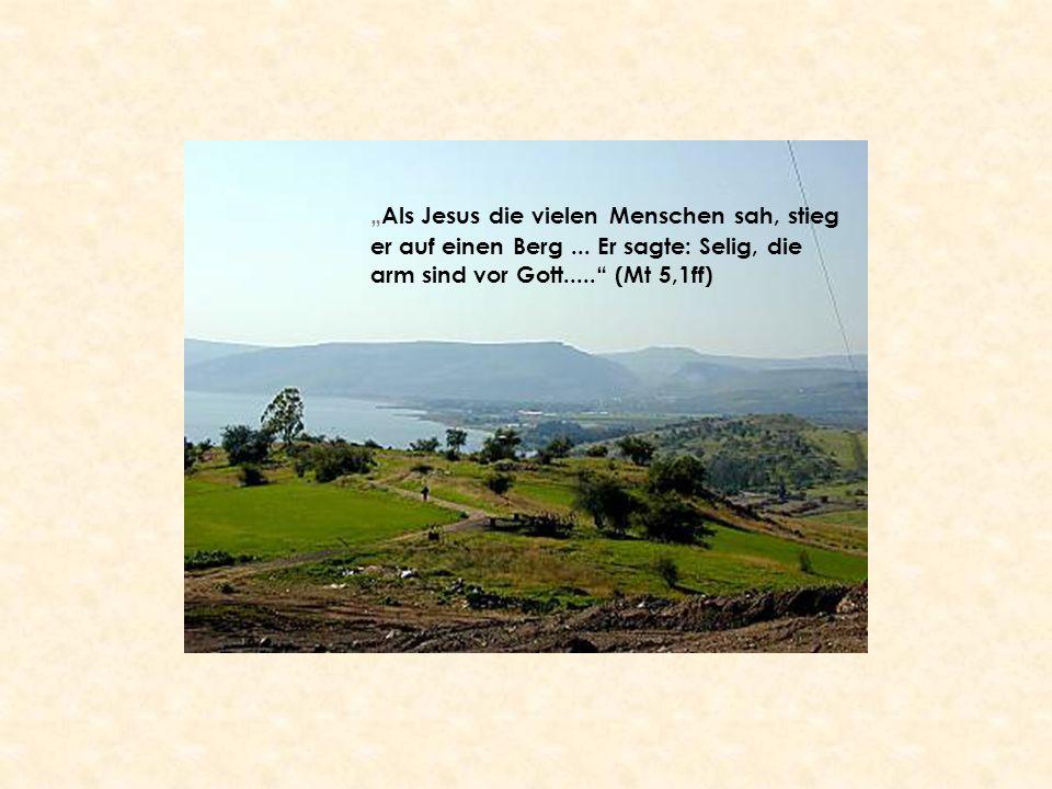 """""""Als Jesus die vielen Menschen sah, stieg er auf einen Berg... Er sagte: Selig, die arm sind vor Gott....."""" (Mt 5,1ff)"""