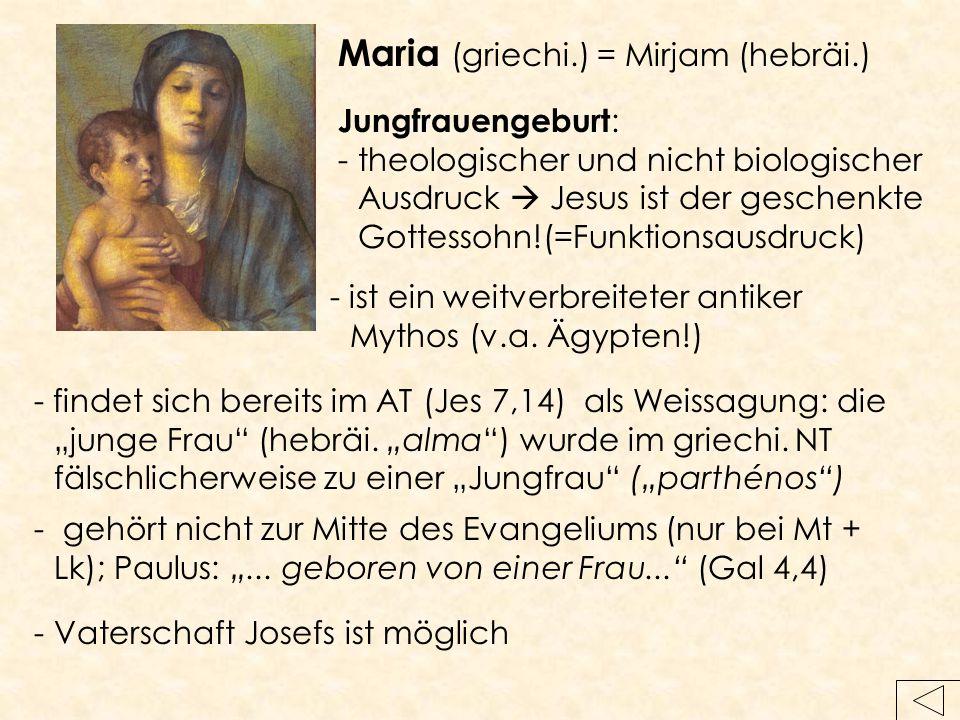 Jungfrauengeburt : -theologischer und nicht biologischer Ausdruck  Jesus ist der geschenkte Gottessohn!(=Funktionsausdruck) -Vaterschaft Josefs ist m