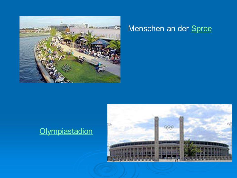 Menschen an der SpreeSpree Olympiastadion