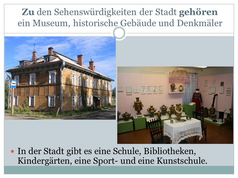 In der Stadt gibt es eine Schule, Bibliotheken, Kindergärten, eine Sport- und eine Kunstschule.