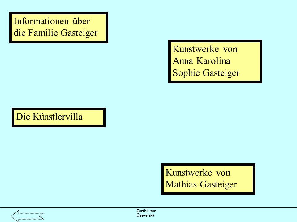 Zurück zur Übersicht Informationen über die Familie Gasteiger Kunstwerke von Anna Karolina Sophie Gasteiger Kunstwerke von Mathias Gasteiger Die Künstlervilla
