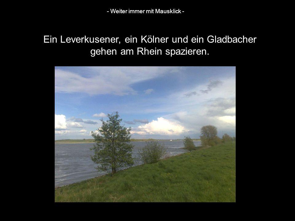 Ein Leverkusener, ein Kölner und ein Gladbacher gehen am Rhein spazieren. - Weiter immer mit Mausklick -