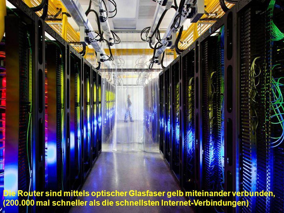 Die Router sind mittels optischer Glasfaser gelb miteinander verbunden, (200.000 mal schneller als die schnellsten Internet-Verbindungen)
