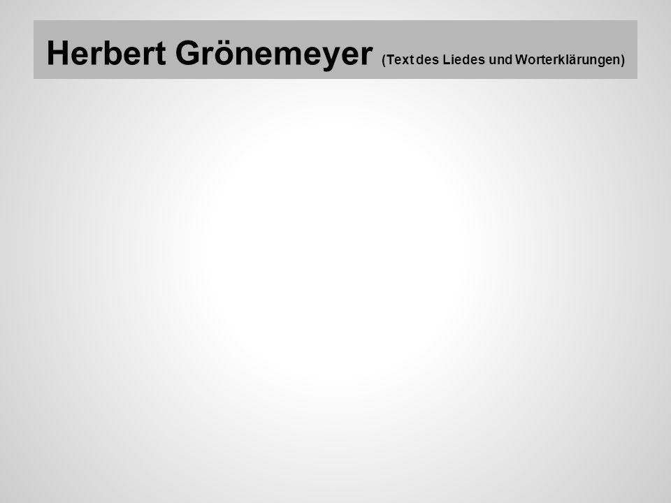 Herbert Grönemeyer (Text des Liedes und Worterklärungen)