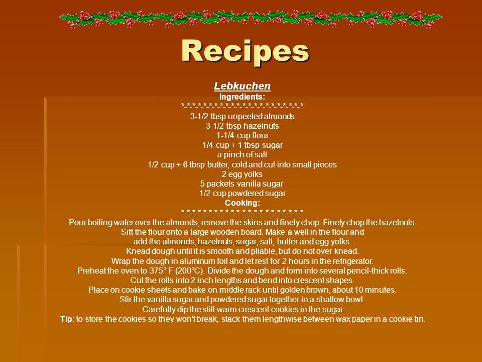 Recipes Lebkuchen Ingredients: *-*-*-*-*-*-*-*-*-*-*-*-*-*-*-*-*-*-*-*-*-* 3-1/2 tbsp unpeeled almonds 3-1/2 tbsp hazelnuts 1-1/4 cup flour 1/4 cup +