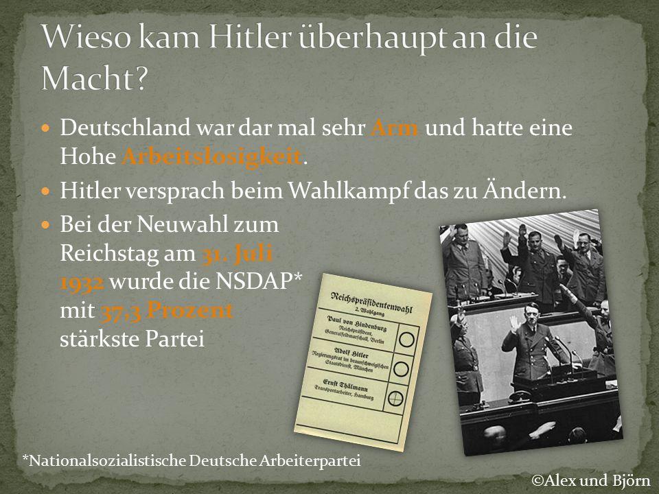 Deutschland war dar mal sehr Arm und hatte eine Hohe Arbeitslosigkeit. Hitler versprach beim Wahlkampf das zu Ändern. Bei der Neuwahl zum Reichstag am