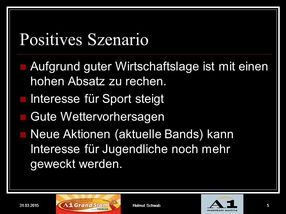 31.03.2015Helmut Schwab5 Positives Szenario Aufgrund guter Wirtschaftslage ist mit einen hohen Absatz zu rechen. Interesse für Sport steigt Gute Wette
