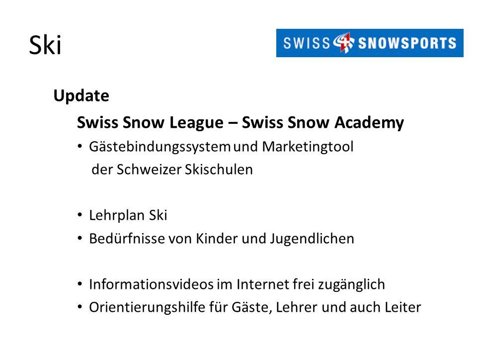 Ski Update Swiss Snow League – Swiss Snow Academy Gästebindungssystem und Marketingtool der Schweizer Skischulen Lehrplan Ski Bedürfnisse von Kinder u