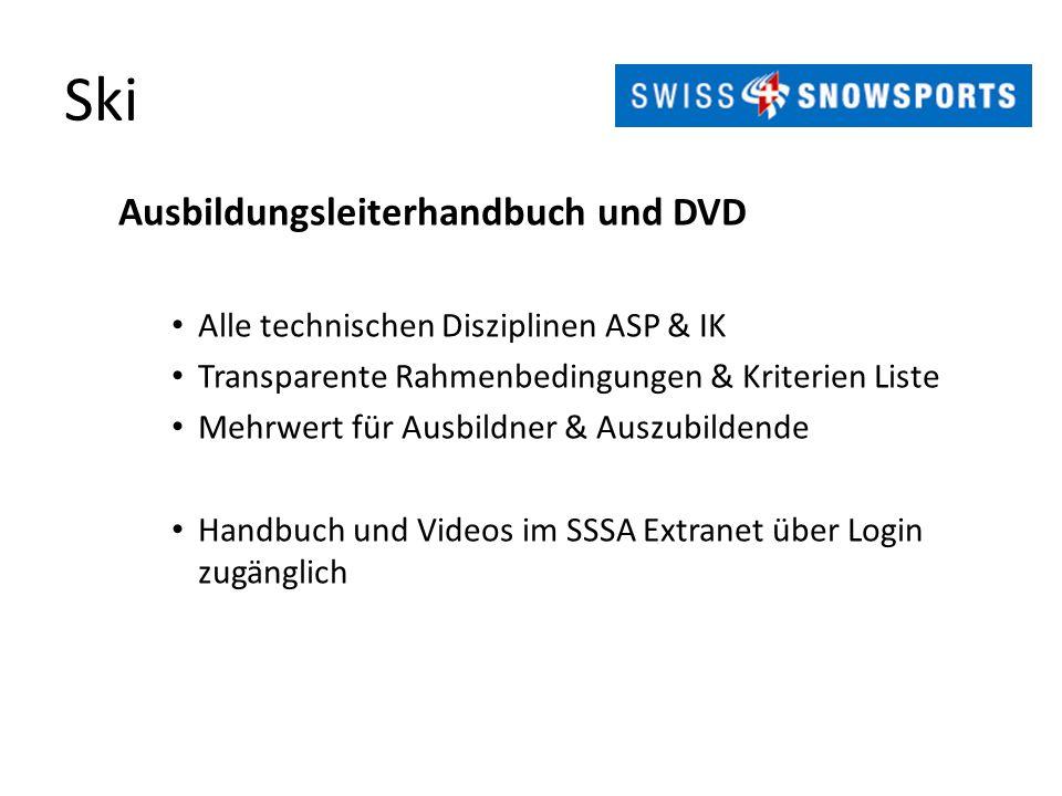 Ski Ausbildungsleiterhandbuch und DVD Alle technischen Disziplinen ASP & IK Transparente Rahmenbedingungen & Kriterien Liste Mehrwert für Ausbildner &