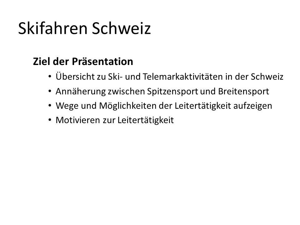 Skifahren Schweiz Ziel der Präsentation Übersicht zu Ski- und Telemarkaktivitäten in der Schweiz Annäherung zwischen Spitzensport und Breitensport Weg