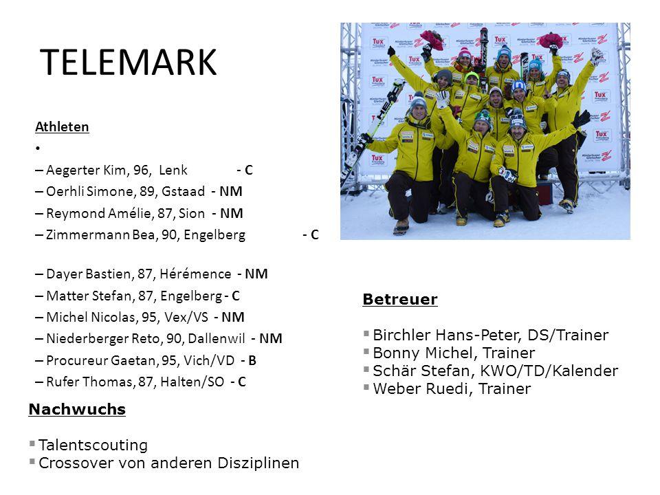 Athleten – Aegerter Kim, 96, Lenk - C – Oerhli Simone, 89, Gstaad - NM – Reymond Amélie, 87, Sion - NM – Zimmermann Bea, 90, Engelberg - C – Dayer Bas