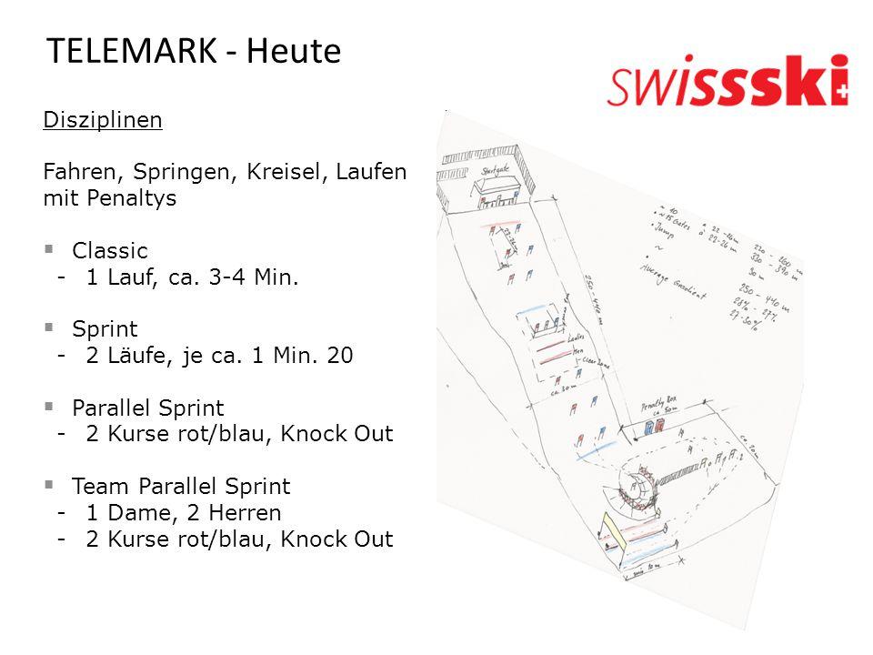 TELEMARK - Heute Disziplinen Fahren, Springen, Kreisel, Laufen mit Penaltys  Classic -1 Lauf, ca. 3-4 Min.  Sprint -2 Läufe, je ca. 1 Min. 20  Para
