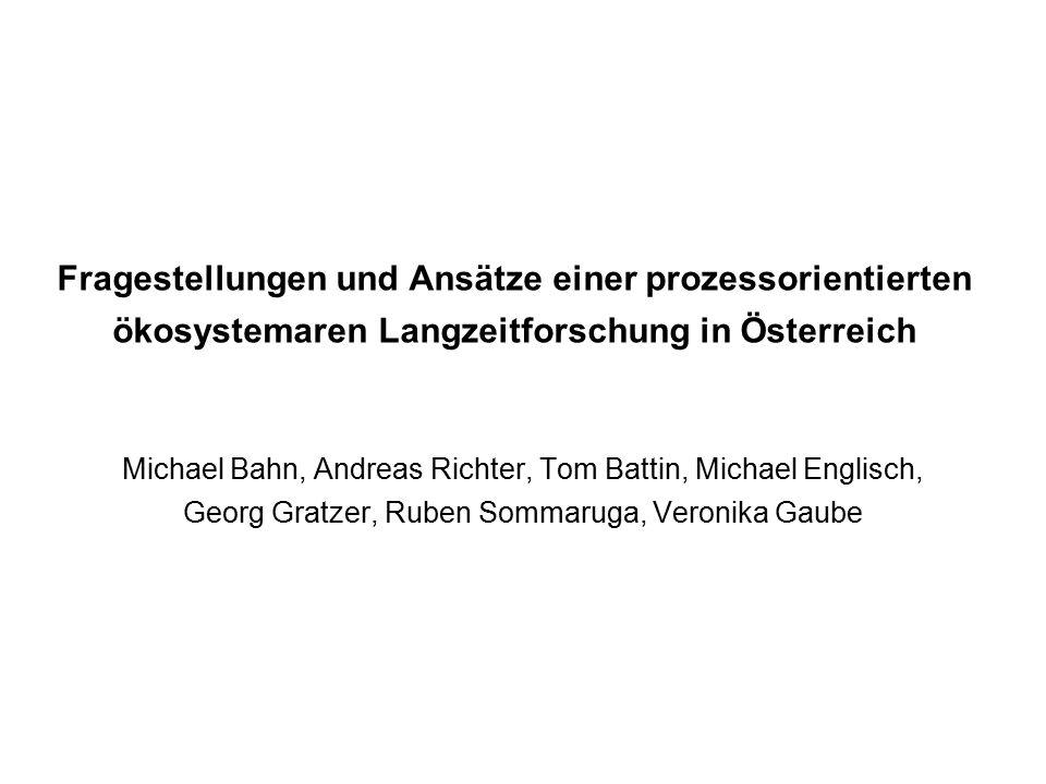 Fragestellungen und Ansätze einer prozessorientierten ökosystemaren Langzeitforschung in Österreich Michael Bahn, Andreas Richter, Tom Battin, Michael