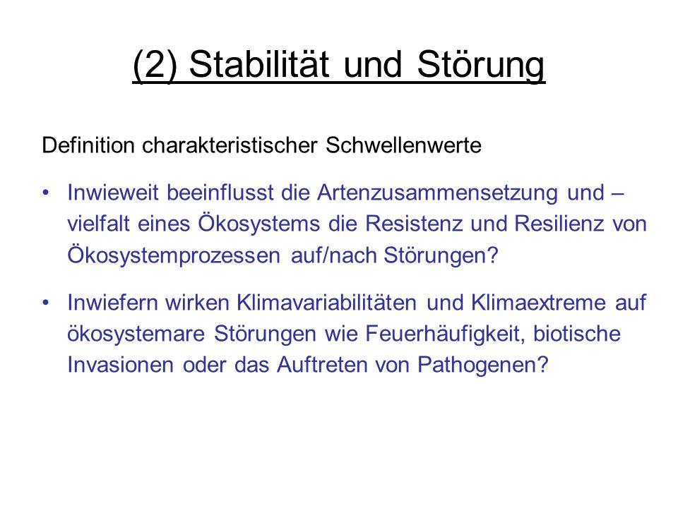(2) Stabilität und Störung Definition charakteristischer Schwellenwerte Inwieweit beeinflusst die Artenzusammensetzung und – vielfalt eines Ökosystems