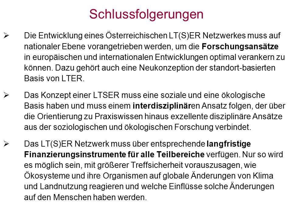 Schlussfolgerungen  Die Entwicklung eines Österreichischen LT(S)ER Netzwerkes muss auf nationaler Ebene vorangetrieben werden, um die Forschungsansätze in europäischen und internationalen Entwicklungen optimal verankern zu können.