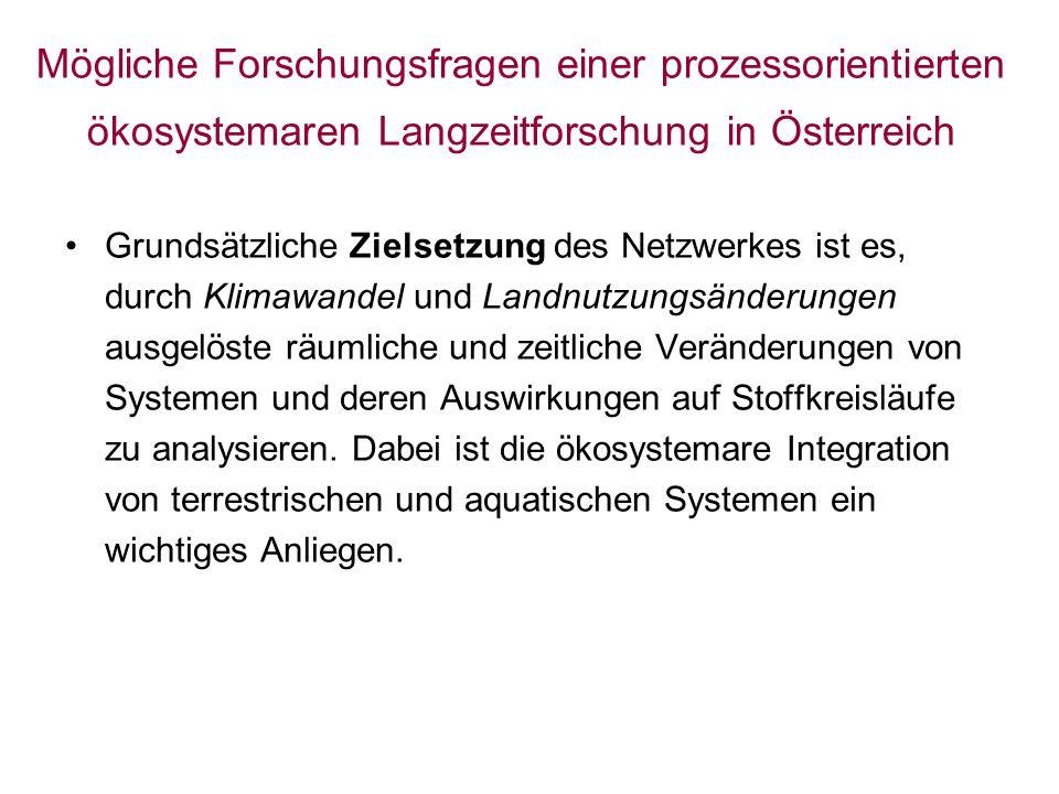 Mögliche Forschungsfragen einer prozessorientierten ökosystemaren Langzeitforschung in Österreich Grundsätzliche Zielsetzung des Netzwerkes ist es, durch Klimawandel und Landnutzungsänderungen ausgelöste räumliche und zeitliche Veränderungen von Systemen und deren Auswirkungen auf Stoffkreisläufe zu analysieren.