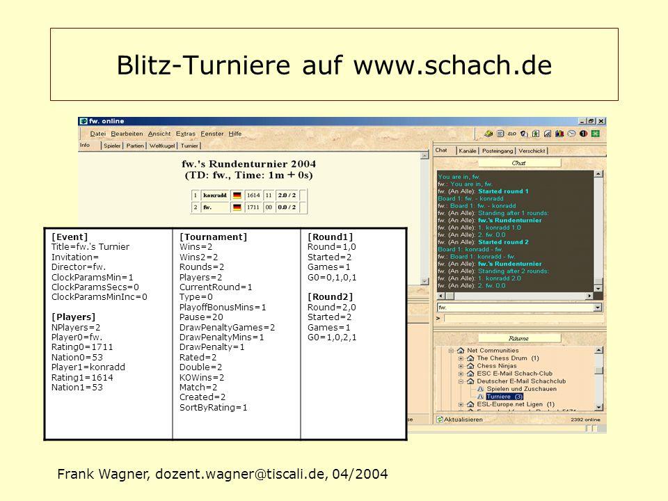Frank Wagner, dozent.wagner@tiscali.de, 04/2004 Mögliches Szenario -> Projektziele Nach beendetem Turnier startet TL Programm Programm liest die Turnierdaten (Textdatei) TL korrigiert ggf.